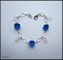 Blu Roses Bracelet with Swarovski Crystals by ThinkSweet