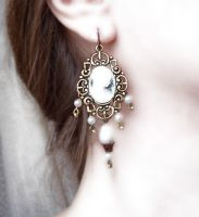 Brass and Cameo Earrings 2 by Aranwen