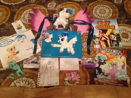 Gifts to SaberSpark at BronyCon by SunnyFaceMLP