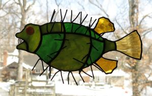 Slightly Annoyed Mutant Puffer Fish Stained Glass by trilobiteglassworks