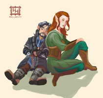 Kili + Tauriel by hollarity