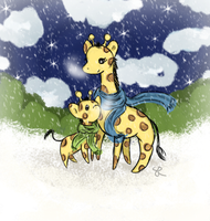 Winter Giraffes by ChiuuChiuu