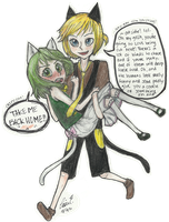 Megpoid Gumi and Kagamine Len by IniaLynn