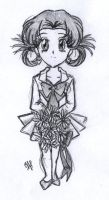 Chibi with bouquet by nephrite-butterfly