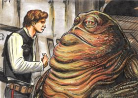 HAN SOLO AND JABBA THE HUTT SKETCH CARD by AHochrein2010