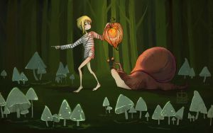 Boy with the snail in the forest. by mirt