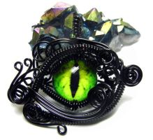 Black Wire Wrap Green Glass Dragon Eye Pendant by Create-A-Pendant