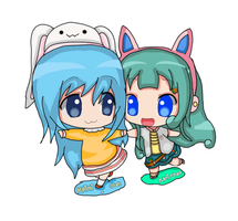 Collab w/Jerikuto - Keimi-chan and Kari Chibi by Yuki-Bunni