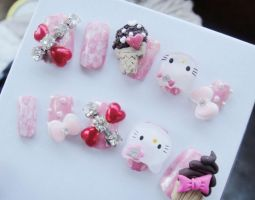 NEW HELLO KITTY 3D NAIL SET by jadelushdesigns
