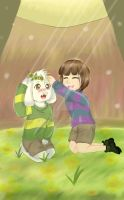 Frisk and Asriel by KokoTala