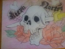 Tattoo Design Skull and Cross bones by thisiscray