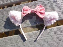 Ear Headband with Pink Bow by laurabububun