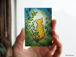 ACEO cat watercolor, with white flowers and greens by EerinVink