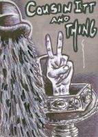Cousin Itt and Thing Sketch Card by ragzdandelion