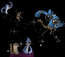 Mordecai y Rigby by Geellick