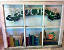 Painted Window 'Bookstore' by darthmer-mer