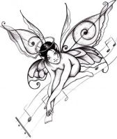 Musical Fairy Tattoo Design by fifth-avenue-art