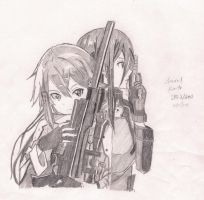 Sinon and Kirito from SAO2/GGO by ssun98