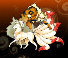 AN08 - Ninetales and Arcanine by tiikay