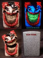 Evil Jester Zippo by Undead Ed Glows in the Dark by Undead-Art