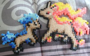 Shiny Ponyta and Rapidash Perler by Blackshadowbutterfly