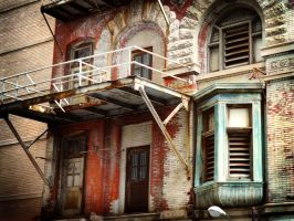 Forgotten Philly fire escape by raverqueenage