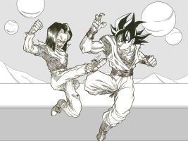 c17 vs son goku by bloodsplach