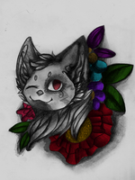 Cat with flower by Vermilion-77