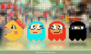 Ms. Pac-Man + The Hijab Ghosts by ashrel