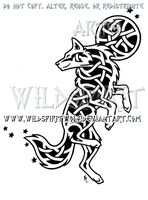 Celestial Knotwork Dancing Wolf by WildSpiritWolf