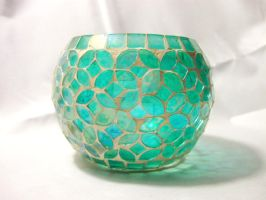 Aqua Glass Candle Holder by CelticStrm-Stock by CelticStrm-Stock