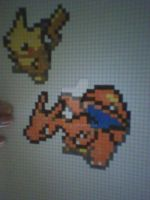 Pikachu and Charizard-PIXEL drawing by L98