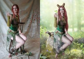 Queen of Spring - Before After by IdaLarsenArt