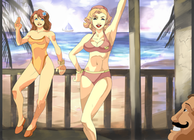 Daisy and Peach at the Beach by daremaker