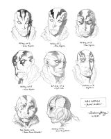 Abe Sapien facial studies by silentsketcher