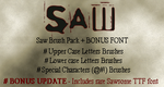 Saw Movie Letters Font Brushes by jackassrules