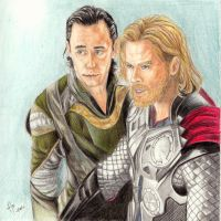 Thor and Loki by ana-wandmaker