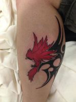 Cardinal Tattoo- on my leg by CR4ZY-CHR1S