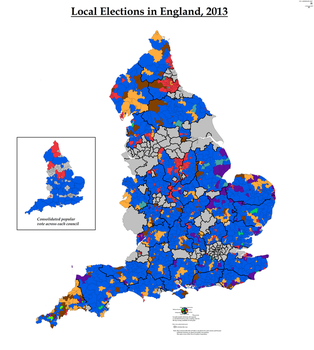 Local Elections in England, 2013 (Simplified) by AJRElectionMaps