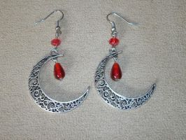 Silver Crescent Moons with Red Rondelle Crystals by KiriRamdeo