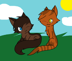 Settingpaw and Flamepaw by XxQueenofChaosxX