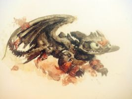 Toothless watercolor. by ISpyrq