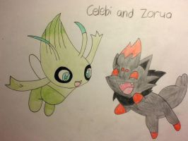 Celebi and Zorua by UltimateSakura1