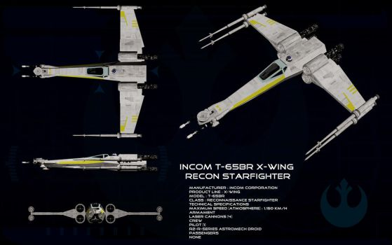 T-65BR X-wing reconnaissance starfighter ortho by unusualsuspex