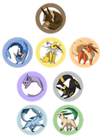 Eevee Family badges by Nikithewerewolf