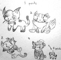 Black and white cats adoptables (CLOSED!) by TearOfARose