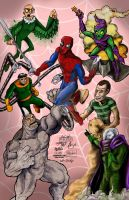 Spidey vs Sinister Six by mannycartoon