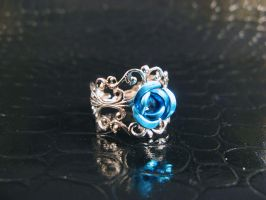 Blue simple filigree ring 2 by AngelElementsEtsy