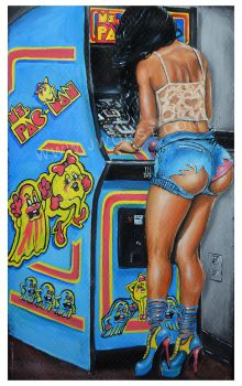 Ms Pacman by Jeremy Worst Acrylic Painting by JeremyWorst