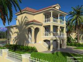 Twin House Front View by cenkkara